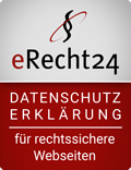 eRecht24 Datenschutzerklärung für rechtssichere Webseiten.